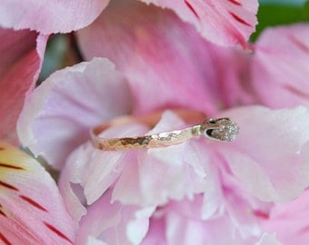 Raw Diamond Ring . Alternative Engagement Ring . Uncut Diamond Ring . Ethical Engagement Ring in Recycled 14k Rose Gold and 14k White Gold