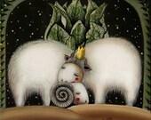 Two. Illustration, Art Print, love lambs, ceramic  Gift, home decor. Wall decor,
