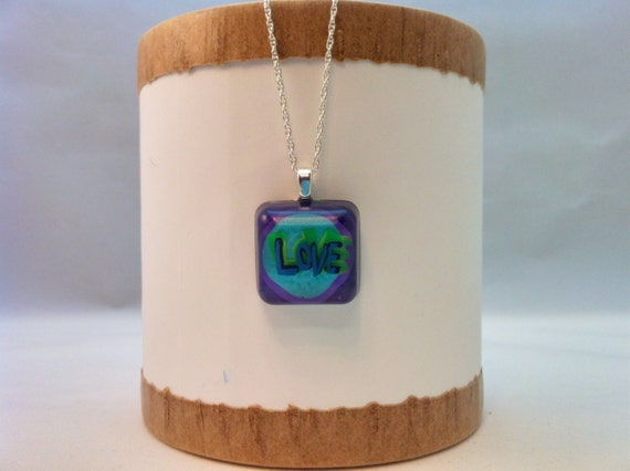 """Hand painted resin pendant - """"LOVE""""  - Multi-layer acrylic painting"""