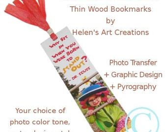 Personalized Bookmark, Wood Bookmarks, Photo Transfer, Customized Baby Photo, Children Bookmark, Christmas Gift, Teacher's Day, Birthday