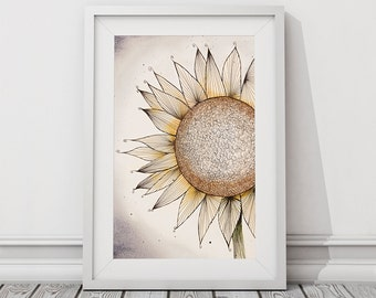 Printable Art, Abstract Sunflower black and white pen line doodle drawing with watercolour, Instant Digital Download,
