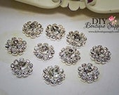 10 pcs 14mm Rhinestone buttons VERY SPARKLY Metal Flatback Headband Supplies flower centers invitations crystal bouquet  061020