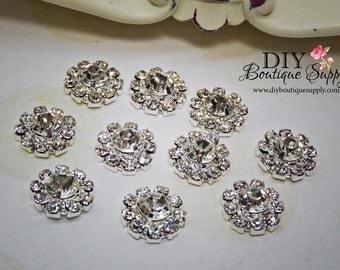 10 pcs 14mm Rhinestone buttons VERY SPARKLY Metal Flatback Headband Supplies flower centers invitations crystal bouquet  061020