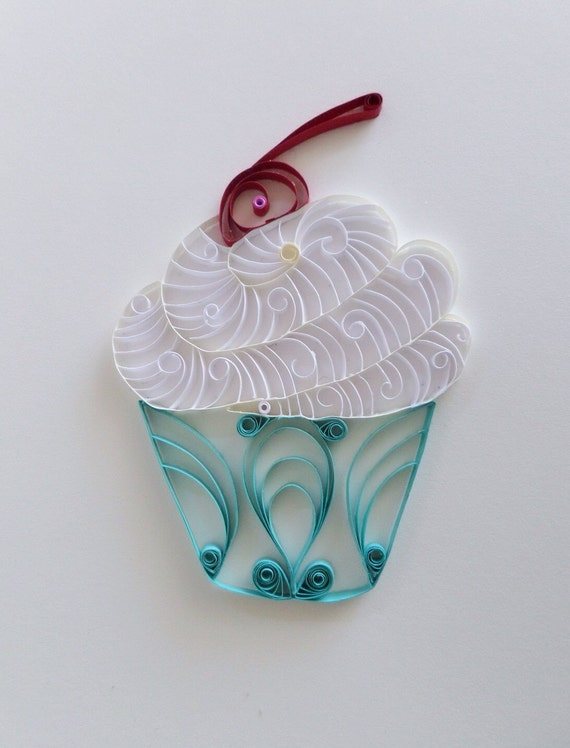 Quilled paper cupcake for home decor white and blue cupcake for Cupcake home decorations