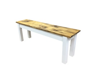 Barnwood Bench-White  / Rustic Bench / Farmhouse Bench / Reclaimed wood bench
