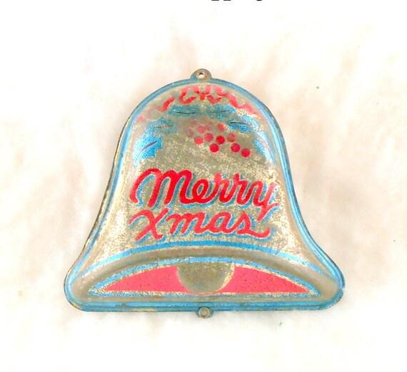 Vintage Tin Christmas Tree Ornaments : Vintage tin christmas bell ornament tree by butnotforgotten