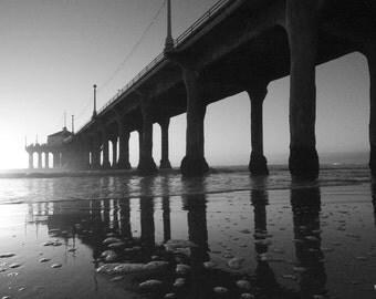 Manhattan Beach Pier Black and White Picture
