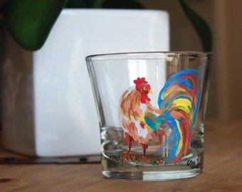ORIGINAL Acrylic painting Rooster Votive Candle Holder