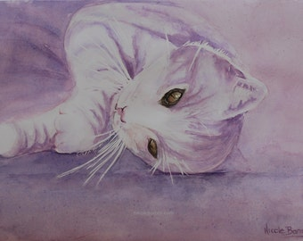"Cat Painting, Original Watercolour Painting, Home decor, 13""x9.5"" Purple Cat Painting, Daydreaming"