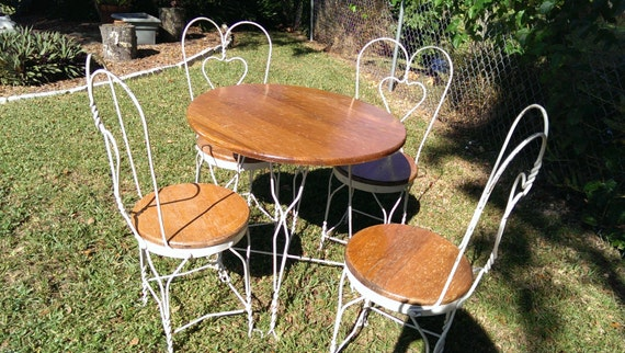 Ice cream parlor table chairs cafe bistro set