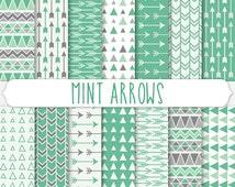 Mint Arrow Digital Paper - Mint Green Tribal Pattern - Gray and Mint Aztec Background - Geometric Triangles - Printable Scrapbooking Design