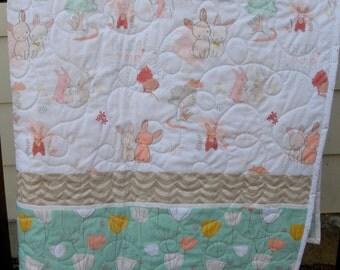 Baby girl quilt, modern, handmade, The Littlest by Art Gallery, peach, coral, mint, grey