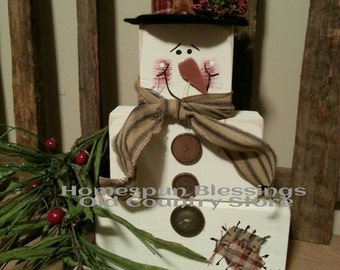 Snowman Blocks - In the meadow we can build a snowman....hand painted.  No two exactly alike.