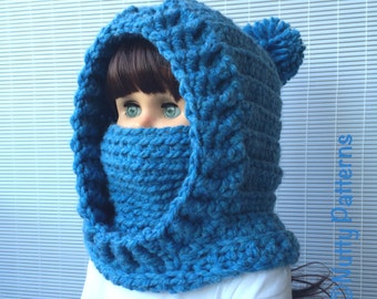 Crochet Patterns * Boston Hooded Cowl * Instant Download Pattern # 483 * baby toddler child teen adult sizes * bulky * easy