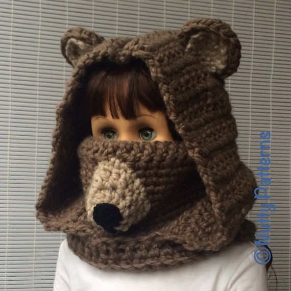 Crochet Baby Bear Cowl Pattern : Crochet Patterns Bear Hooded Cowl Instant Download Pattern