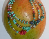 Three Strand Bracelet withTurquoise and Lapiz Lazouli Red Coral and Ceramic Beads -E 38 -