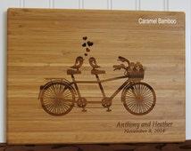Personalized Cutting Board Tandem Bike Wedding Anniversary Hostess Gift Mom Birthday Gift Walnut Bamboo Cutting Board