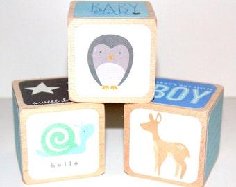 Children's Wooden Blocks - Baby Boy - Blue Nursery Room Decor - Owls - Forest Animals - 2 Inch Wooden Blocks