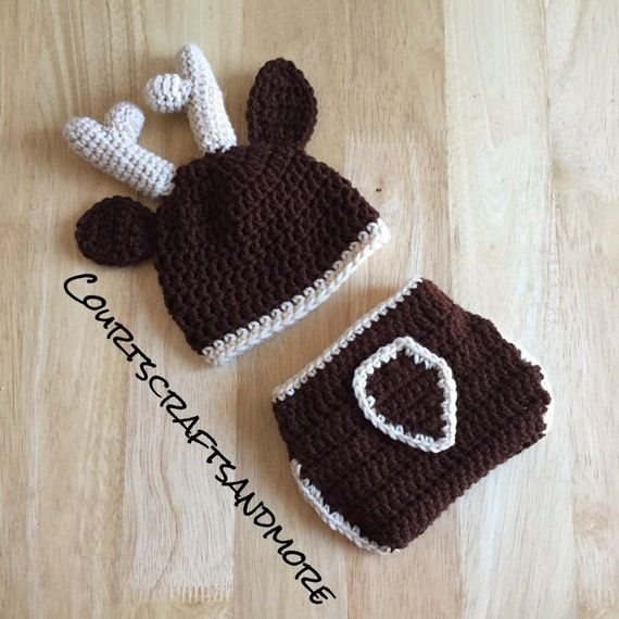 Deer Hat and Diaper Cover Crochet Hat by CourtsCraftsandmore