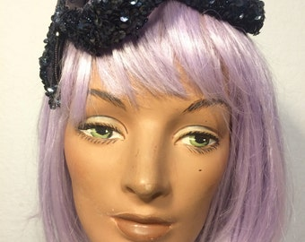 FREE  SHIPPING  1950's Sequins Crown Hat