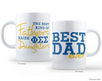 PhiSig Phi Sigma Sigma Best Dad Mug Sorority Father Mug