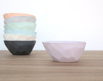 slip cast porcelain faceted olive bowl
