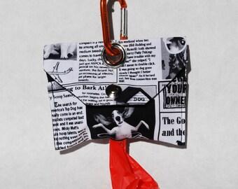 Black White Newspaper Dog Gift Dog Poop Bag Dispenser Dog Poo Bag Dog Mess Bag Waste Bag Dispenser