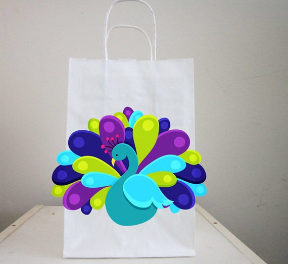 Peacock birthday party favor goody gift bags peacock favor bag il570xn negle Image collections