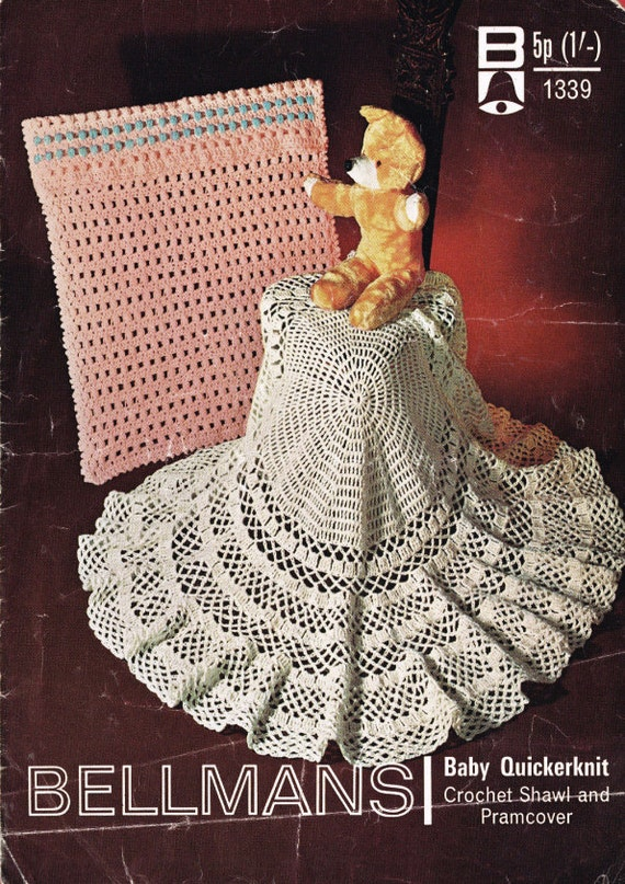 Crochet Patterns For Shawls Vintage : Vintage crochet Shawl & Pramcover pattern Baby by OzgirlfromOz