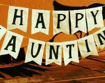 Happy Haunting Burlap Banner