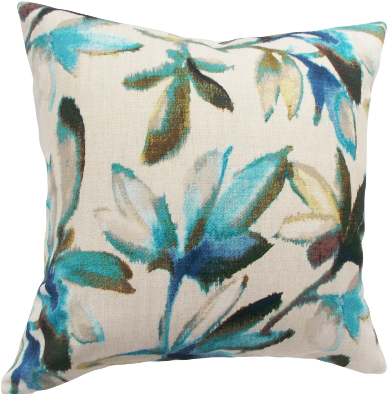 Decorative Pillow Turquoise : Turquoise Floral Ikat Decorative Pillow Cover Throw Pillow
