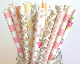 Rustic Wedding Straws, Rustic Baby Shower Burlap and Lace Straw Multipack -Pink Peach Straws Floral Rustic Wedding Decor, Barn Wedding