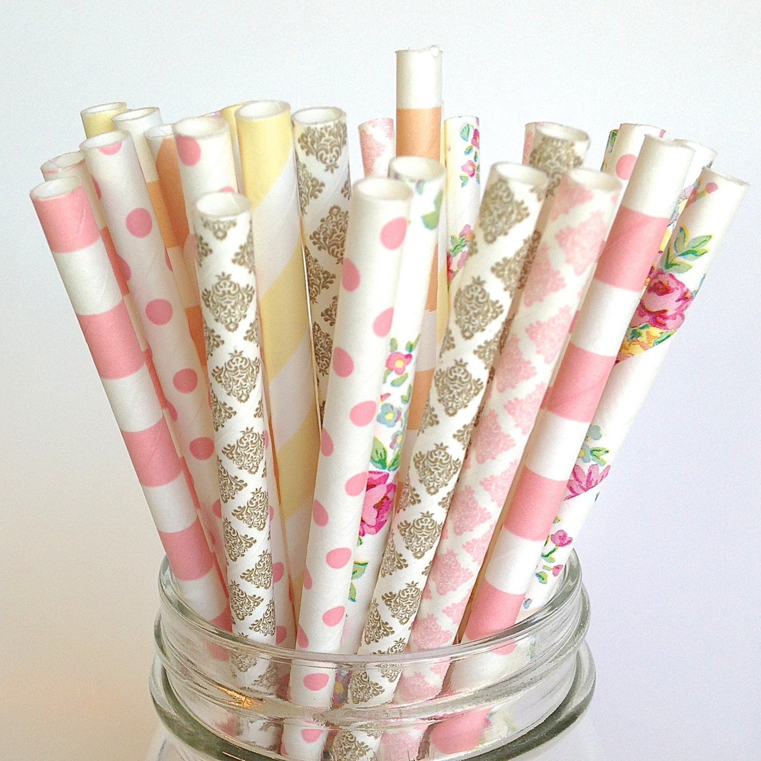 Lace Blush Pink And Gold Color: Floral Baby Shower Straws In Ivory Pink Peach Floral Gold