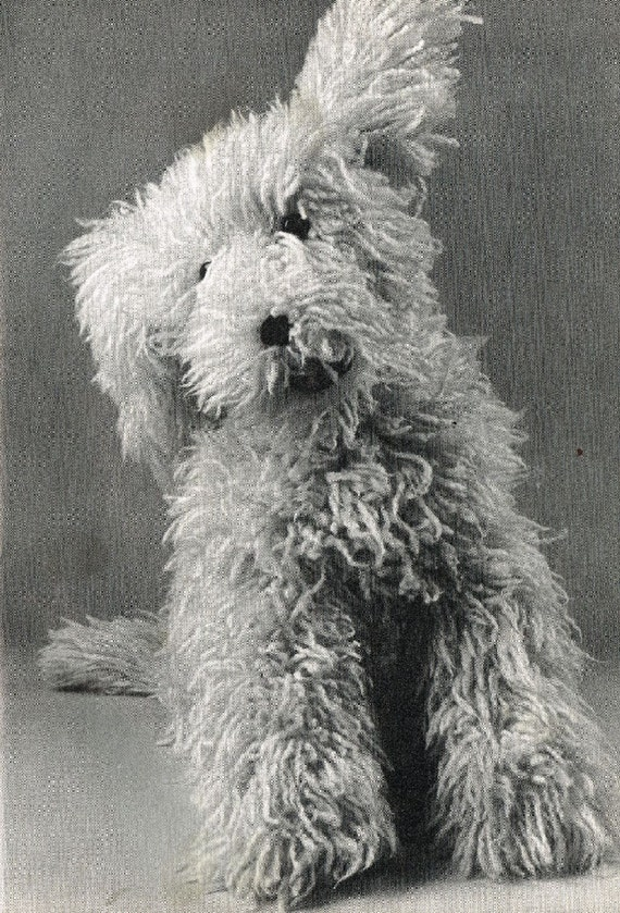 Shaggy Dog Toy Vintage Knitting Pattern Pdf Instant Download