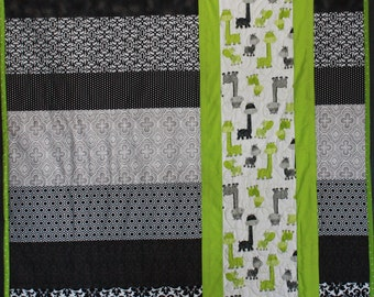 Giraffe Baby Quilt--Black, White, Grey & Green