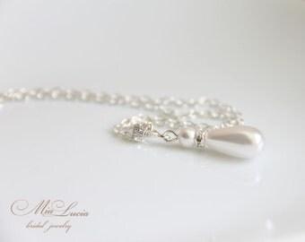 Silver Pearl Pendant. Bridal Jewelry, Bride Jewellery, Rhinestone Pearl Necklace on Silver Chain Drop Pendant Pearl-drop  art. n09