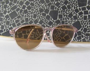 Vintage oversize eyeglasses 80s white transparent pink dots nerd glasses