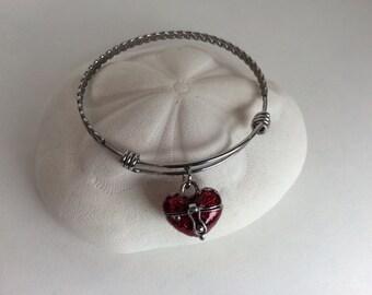 Heart wish box bangle bracelet