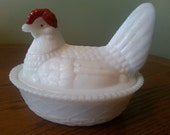 "Westmoreland Milk Glass Hen on Nest, Candy Dish, with painted Red Head 5 1/2"" length"