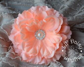 "1 Peach Fabric Silk Peony Flower 4.25"", Wholesale Flowers, Wedding Flower, Large Flower, Headband Flower, DIY Flower, Hair Flower"