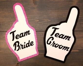 Photobooth Props - 2 Piece Team Bride Team Groom Fan Fingers