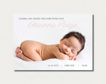 Simple Birth Announcement - Classic - Custom Made
