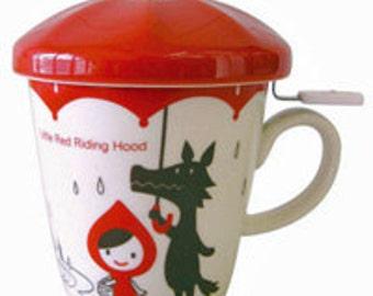 Little Red Riding Hood Umbrella Tea Mug with Lid.