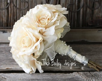 CLEARANCE**Cream Roses Bead Accented Silk Wedding Bouquet