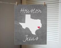 Houston Texas Art - Texas State Art - Texas State Print - Texas Print - Texas Gift - State Print