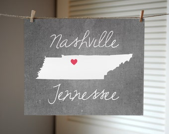 Nashville Art, Nashville Print, Nashville TN, Nashville Poster, Tennessee Art, Concrete Gray State Print, State Art