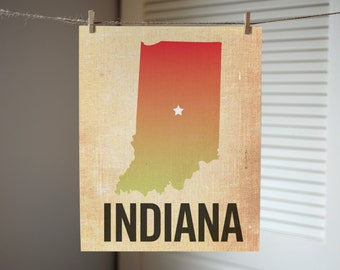 Indiana Print, State Print Indiana, Indianapolis Print, Burlap, Ombre, Indiana Art