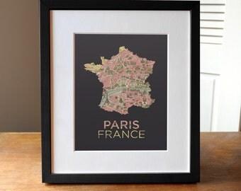 Paris Map Print, Paris Print, France Print, Paris France Map Print, Paris Art, France