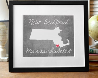 New Bedford Massachusetts State Print - Massachusetts Print - Massachusetts Gift - Concrete Gray State Print