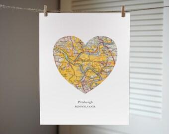 Pittsburgh Pennsylvania Heart Map Print, Pittsburgh Map Print, Custom City Print, Pennsylvania Art